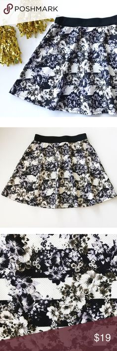 """Striped Floral Circle Skirt Such a cute print! • soft material - 94% polyester, 6% spandex • waist has some stretch • approximately when laying flat: waist 13.5, length 17.5"""" • accepting all reasonable offers! Skirts"""