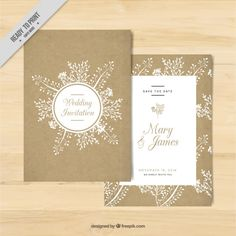 Golden wedding invitation with floral elements Free Vector