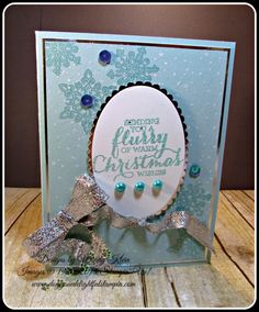 """Stampin' Up!, PP 324, Flurry of Wishes, Holly Jolly Greetings, Layering Ovals, Silver Foil, Versamark, White embossing powder, Irisdescent Ice embossing powder (ret.), Recollections """"Glacier"""" embossing powder, 3/8"""" Silver Glitter Ribbon, 28 Lilac Lane """"Let It Snow"""" embellishment kit, - designed by Wendy Klein for Doggone Delightful Stampin'"""