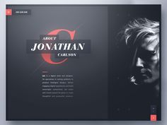 Jon Carlson — Creative Portfolio designed by Ben Schade. Connect with them on Dribbble; the global community for designers and creative professionals. Portfolio Book, Portfolio Web Design, Creative Portfolio, Creative Studio, Web Design Quotes, Web Design Trends, Web Design Tutorials, Design Websites, Webdesign Portfolio