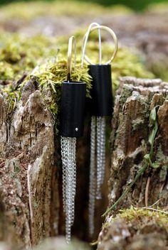 """#earrings #chain #moss #black """"Chain earrings"""""""