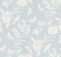 A pretty flower, butterfly and bird trailing design in two colours - white on pale blue with lustre effect. Paste the wall, wide width and vinyl coated. Please request sample for true colour. Delivery for this American wallcovering is working days. Interior Wallpaper, Chinoiserie Wallpaper, Kitchen Wallpaper, Home Wallpaper, Fabric Wallpaper, Pattern Wallpaper, Wallpaper Ideas, Aqua Bedding, Wallpaper Direct