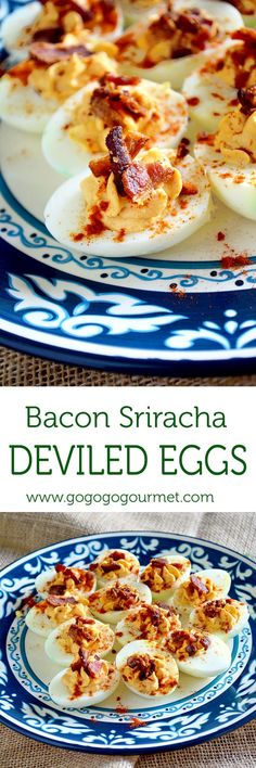 Use up those hard boiled eggs to make these Bacon Sriracha Deviled Eggs- so full of flavor that your taste buds will do a dance of joy! | Go Go Go Gourmet @gogogogourmet