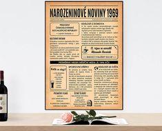 narozeninové noviny 1969-obraz 3 Lemon Party, Creative Crafts, Letter Board, Homemade, Retro, Birthday, Craft, Rustic, Diy Crafts