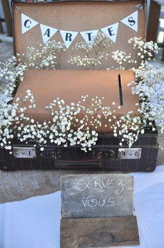 Valise rétro / vintage en décoration de mariage