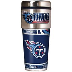 NFL Tennessee Titans Metallic Travel Tumbler Stainless Steel and Black Vinyl 16Ounce *** You can find more details by visiting the image link.