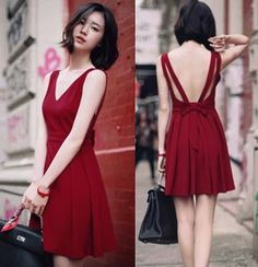 Fabulous Flirty Backless Burgundy Dress. Cocktail Party Dress
