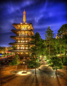 Click to rate Epcot at night, Japanese Pagoda; Joanie Eddis-Koch