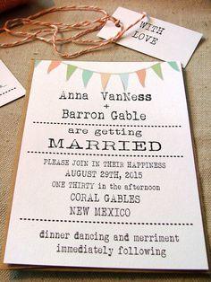 Pastel Wedding Invitations typewriter font by sweetinvitationco, $100.00
