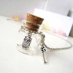 Antique Silver Owl in a Bottle Pendant with Key Charm by zazastory, $12.80