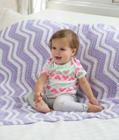 Fuzzy Ripple Baby Blanket Crochet Pattern | Red Heart