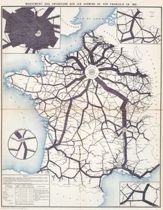 Movement of the travellers transported via the French railroads in 1891 (published 1893) [7484 × 9596] : oldmaps 3d Reconstruction, Map Artwork, Pictorial Maps, Ancient Near East, Wallpaper Size, Old Maps, France, Cartography, Transportation