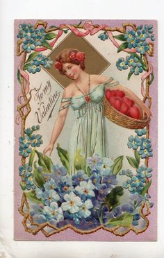 V118 Postcard Valentine's Day Greeting Art Nouveau Maid with Baskets of Hearts   eBay