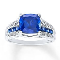 Lab-Created Sapphire Ring Diamond Accents Sterling Silver