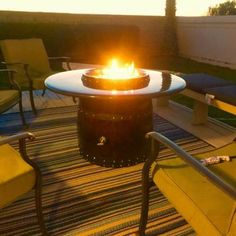 Outdoor Wine Barrel Fire Pit Table Top Hand Made in San Diego