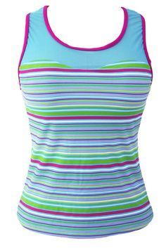 Colorful Stripe Print Mesh Splice Tankini Top MB41970-5