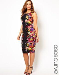 ASOS CURVE Bodycon Dress In Mirror Floral Print
