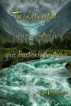 the only thing that you can control is your direction in the stream. Abraham
