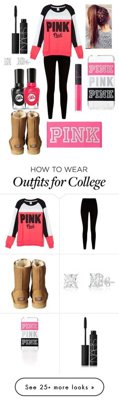 """""""PINK"""" by aldowney3 on Polyvore featuring Givenchy, Victoria's Secret, UGG Australia, NARS Cosmetics and Sally Hansen"""