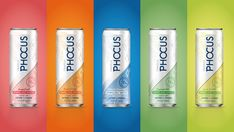 5 cans of Phocus caffeinated sparkling water on colored backgrounds Water Packaging, Water Branding, Juice Packaging, Beverage Packaging, Bottle Packaging, Brand Packaging, Cocktails In A Can, Packaging Stickers, Packaging Design Inspiration