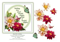 Butterflies And Dehlias - 6 x 6 Card Topper Verse & Decoupage by DigitalHeaven on Etsy