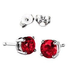 2.00 Carat Total Weight 925 Sterling Silver Earrings. 1.00 Carat Each Stone. Created CZ Red Ruby � Jewelry from Selena