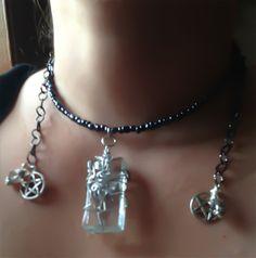 Wrap Necklace with Clear Glass Pentacles Swarovski by Eldwenne
