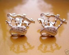 One Pair Sterling Silver Scottish Bagpipes Cufflinks In Presentation Box