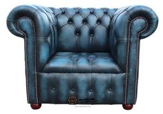 Chesterfield Low Back Buttoned Seat Club Chair Armchair Sofa Blue Leather