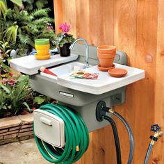 New Outdoor Lawn and Garden Sink with Hose Reel Outdoor Garden Sink, Outdoor Sinks, Garden Hose, Lawn And Garden, Outdoor Gardens, Garden Tools, Home And Garden, Garden Water Slide, Lake Garden
