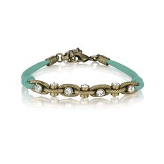 Leather + Crystal Chain Bracelet This delicate design adds instant sparkle to your look with its...click thru to see!