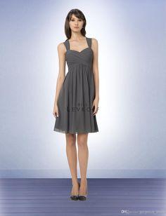 Wholesale Bridesmaid Dress - Buy 2014 Gorgeous Off-shoulder A-Line Grey Chiffon Shrot Wedding Bridesmaid Dresses Girl Short Dress Gowns, $88.62   DHgate