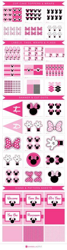 Invitar invitaciones de Minnie Mouse Minnie Mouse por DellaEvents                                                                                                                                                                                 Más