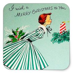 #Vintage retro Christmas wish Holiday sticker - #Xmas #ChristmasEve Christmas Eve #Christmas #merry #xmas #family #kids #gifts #holidays #Santa