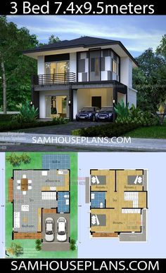 House Plans Idea with 3 Bedrooms – Sam House Plans – House Design House Arch Design, Two Story House Design, Modern Small House Design, 2 Storey House Design, Home Building Design, Simple House Design, Philippines House Design, House Construction Plan, Philippine Houses