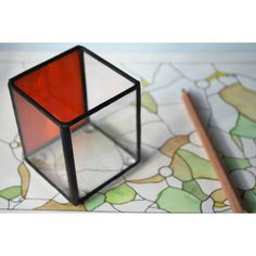 Orange home office pencil holder, Glass pencil holder, Industrial... (€17) via Polyvore featuring home, home decor, office accessories, glass pen holder e colorful desk organizers