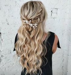 Elevate your style by pulling off this look, perfect for your long and blonde tresses! Embellish it with a beautiful hair gem, and notice how it suits these braided cascading waves. Bridal Hairstyles With Braids, Half Updo Hairstyles, Night Hairstyles, Ball Hairstyles, Braided Hairstyles For Wedding, Bride Hairstyles, Bohemian Hairstyles, Updos, Straight Hairstyles