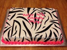 Coolest Zebra Print Cake... This website is the Pinterest of birthday cake ideas