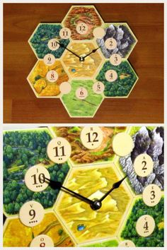 Made from actual game tiles from the 4th edition Settlers of Catan board game. Constructed with a birch backing and a Quartex clock movement that is accurate to +/- one second per day (takes one AA battery - not included). Has a built-in hook for hanging the clock on a wall. #clock #gamenight #settlersofcatan #affiliatelink Catan Board Game, Board Games, Game Night Parties, Settlers Of Catan, Dessert Table, Birch, Party Favors, Tiles, Clock