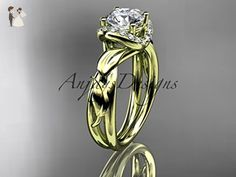 """14kt yellow gold diamond leaf and vine wedding ring, engagement ring with a """"Forever One"""" Moissanite center stone ADLR289 - Wedding and engagement rings (*Amazon Partner-Link)"""