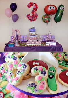 I asked Abrielle what theme she wanted for her Birthday this year, and of course she says Veggie Tales..lol..This is cute! Pink & Purple Veggie Tales Theme Party