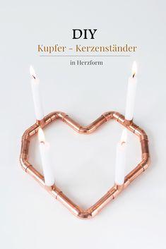 DIY Valentinsgeschenk: Kupfer-Kerzenständer in Herzform