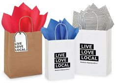 Live Love Local Bags - thank your customers for shopping local! Paper Bag Design, Living In Nashville, Thank You Customers, Pinstriping Designs, Packaging Supplies, Shop Local, Creating A Brand, Live Love, Paper Shopping Bag