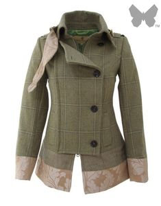 LiBErty FREEdom Milly Jacket - Gorton Tweed From the exclusive British designer, Liberty Freedom; the Milly Jacket is a military style coat in light green tweed with blue/yellow over-check, contrasting tweed and brocade trim. The jacket fits and feels b Coats For Women, Jackets For Women, Country Attire, Country Chic, Military Style Coats, Cute Jackets, Tweed Jackets, Barbour Jacket, British Style