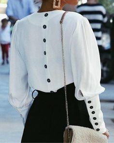 Solid Elegant V-Neck Long Sleeve Blouses Ropa De Trabajo da14f09a553