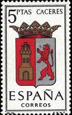Provincial Arms - Cáceres Vintage Stamps, How To Make Paper, Stamp Collecting, Country Of Origin, Girl Scouts, Herb, Arms, Origins, Prints