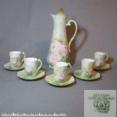 1901 T Limoges Chocolate Pot w/5 Cups & Saucers Mint