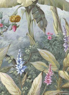 Wallpaper Mural Tricks: How to Choose and Install Illustration Botanique, Botanical Illustration, Illustration Art, Illustrations, Mural Painting, Mural Art, Murals, Tropical Art, Tropical Plants