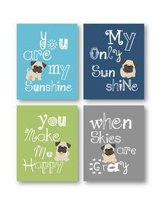 Pug Dog Art // You are my sunshine Art Prints // Pug Nursery