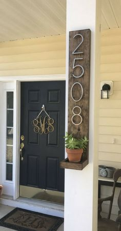 Rustic address sign, Custom Porch decor, Rustic Modern Wood & Metal Address Plaque with Planter Shelf | Personalized Address Number Sign, Home decor, Rustic decor, Farmhouse decor #ad